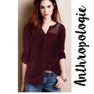 Anthropologie Meadow Rue Burgundy 3/4 Sleeve Shirt